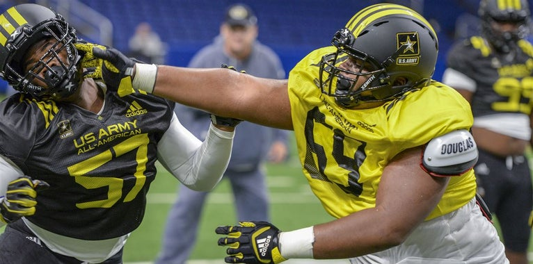 Army Bowl: Top East OL vs West DL one-on-one Day 2