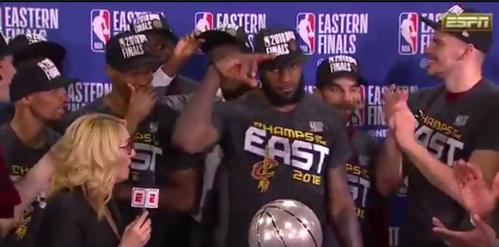 WATCH: Cleveland Cavaliers accept conference championship trophy