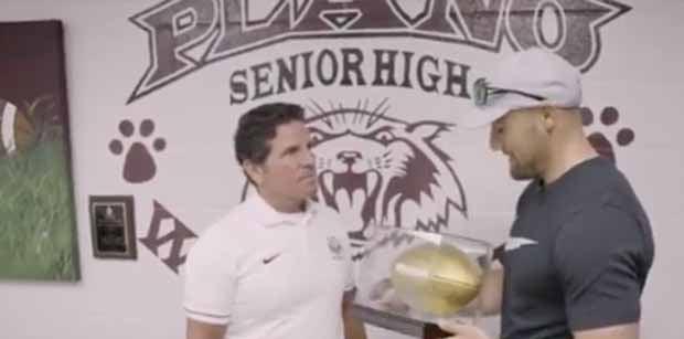 WATCH: Rex Burkhead gives golden football to high school coach