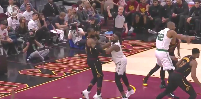 Watch: LeBron James and Jaylen Brown get physical down low