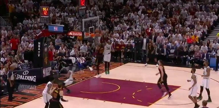 Marcus Smart absolutely rejects LeBron James at the rim