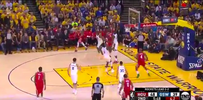 Kevin Durant swats James Harden and then lays it up on other end