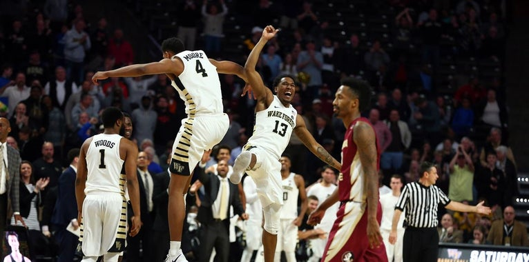 Wake Forest players react to win over Florida State