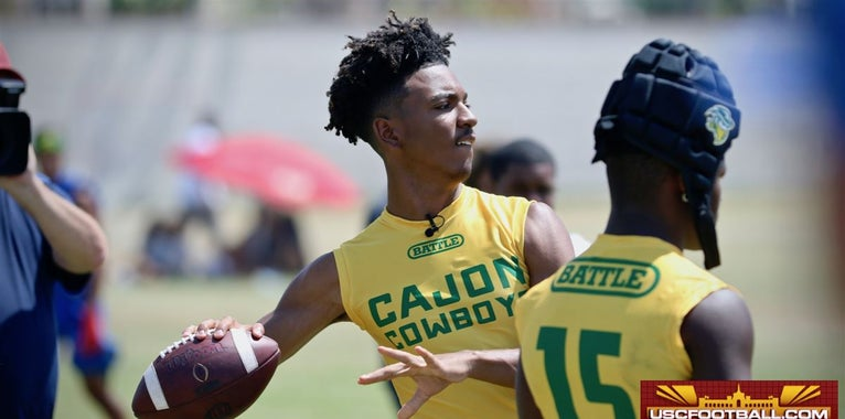 WATCH: QB Jayden Daniels competes in the Battle at the Beach
