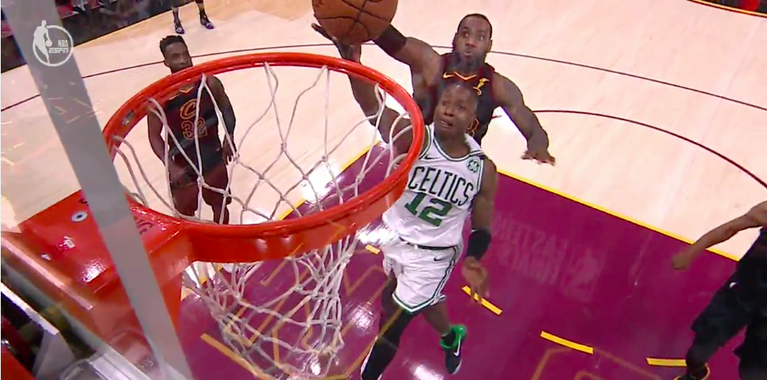 WATCH: LeBron with the nasty chasedown block on Rozier