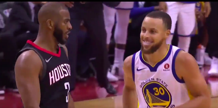 WATCH: Chris Paul shimmies on Stephen Curry after draining shot